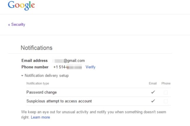 Enabling phone alerts in gmail